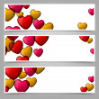 Colorful love paper banners with heart bubbles. — Stock Vector