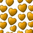 Golden love seamless background of heart bubbles. — Stock Vector