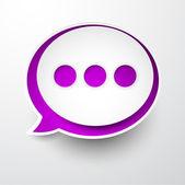 Paper white-purple round speech bubble. — Vecteur