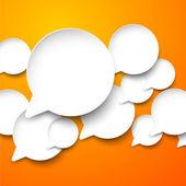 Paper white speech bubbles. — Stock Vector