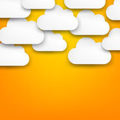 Paper white clouds on orange. — Stock Vector
