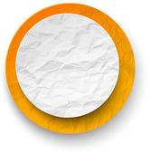 Wrinkled paper white-orange round note. — Stock Vector