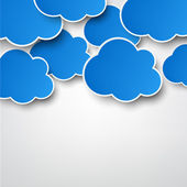 Paper blue clouds on grey. — Stock Vector