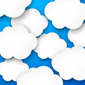 Paper white clouds on blue. — Stock Vector