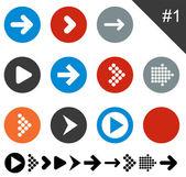 Iconos de flecha plana. — Vector de stock