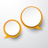 Bolle di discorso tondo bianco-arancio di carta. — Vettoriale Stock