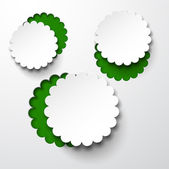 Paper white round flower bubbles. — Stock Vector