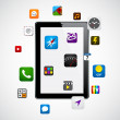 Modern tablet with apps. - Grafika wektorowa