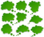 Sada papíru zelené mraky. — Stock vektor