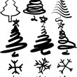 Christmas-trees and snowflakes. — Stock Vector #2893427