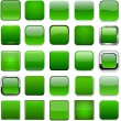 Stock Vector: Square green app icons.