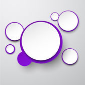 Paper white-violet round speech bubbles. — Stockvektor