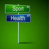 Sport health direction road sign. — Stock Vector