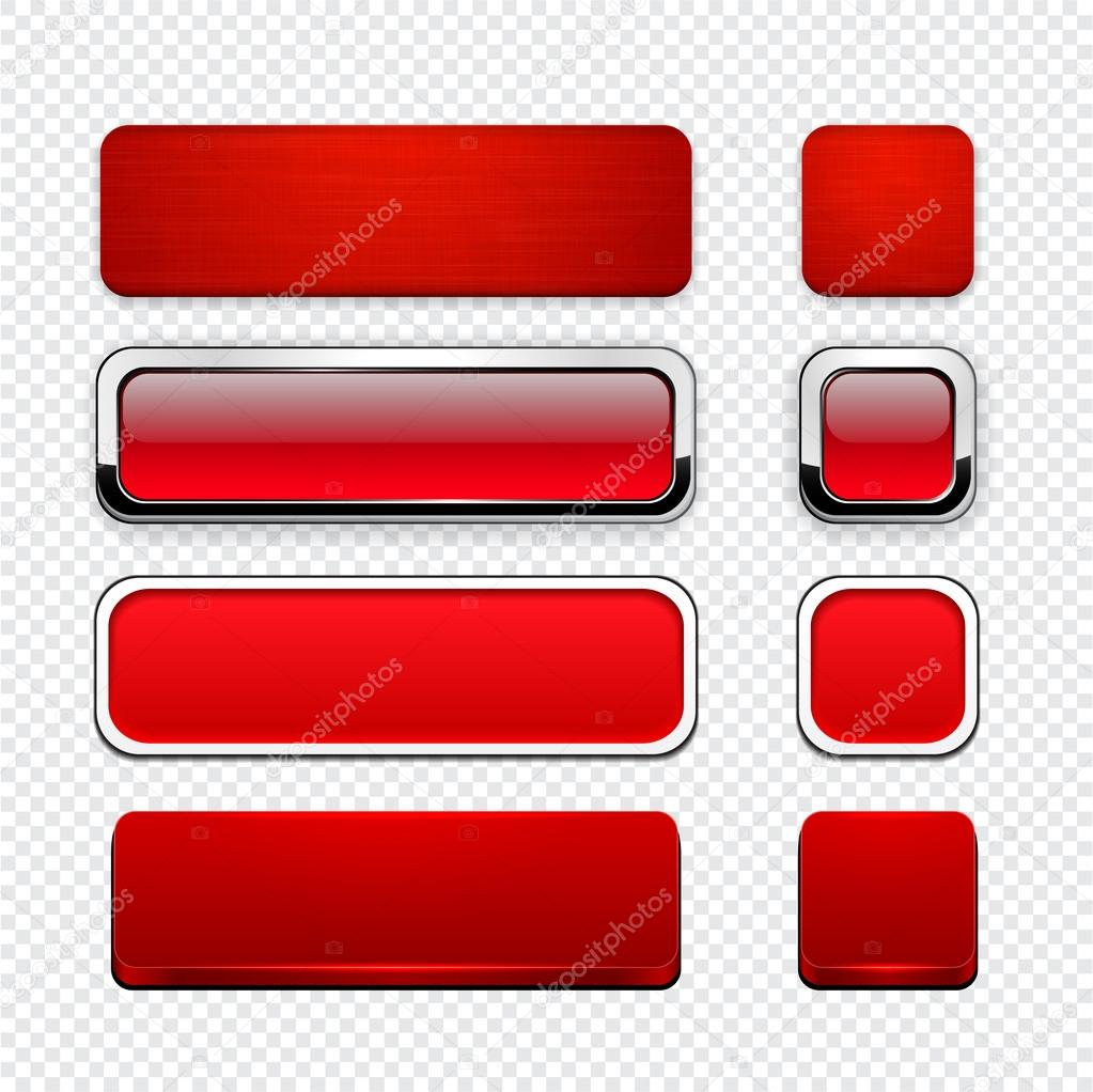 Red high-detailed modern web buttons. — Stock Vector ...