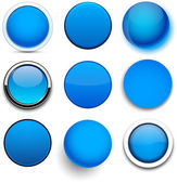 Round blue icons. — Stock Vector