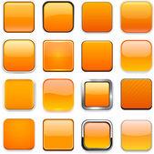 Square orange app icons. — Stock Vector