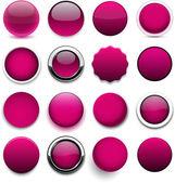 Round magenta icons. — Stock Vector