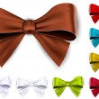 Satin color ribbons. Gift bows. — Vetor de Stock  #32383361