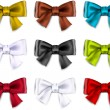 Satin color ribbons. Gift bows. — Vetor de Stock  #32383465