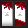 Greeting cards with red bow. — Stock Vector #32383493