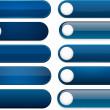 mörkblå hög-detaljerad moderna webbläsare knappar — Stockvektor