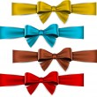 Satin color ribbons. Gift bows. — Vetor de Stock  #32383611