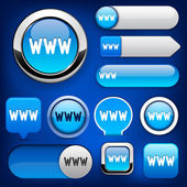 Www web hoch-detaillierte auflistung schaltflächen. — Stockvektor