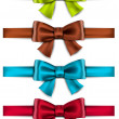 Satin color ribbons. Gift bows. — Stock Vector