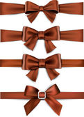 Satin brown ribbons. Gift bows. — Stock Vector