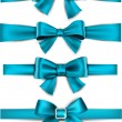 Satin blue ribbons. Gift bows. — Stock Vector