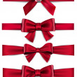 Satin red ribbons. Gift bows. — Vector de stock