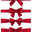 Satin red ribbons. Gift bows. — Stock Vector