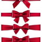 Satin red ribbons. Gift bows. — Stock Vector