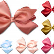 Satin color ribbons. Gift bows. — Vetor de Stock  #34027683