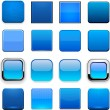 Blue square high-detailed web buttons. — Stock Vector