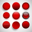 Round red icons. — Stock Vector #34027849