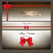 Greeting cards with red bow. — Cтоковый вектор