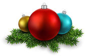 Balls on christmas eve branches. — Stock vektor