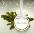 White paper gift card with satin bows.  — Imagen vectorial