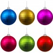 Set of textured realistic christmas balls. — Stock Vector