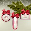 White paper gift cards with satin bows.  — Stockvectorbeeld