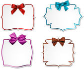 White paper gift cards with color satin bows. — Stock Vector
