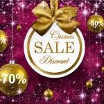 Christmas golden balls on purple background. — Stock Vector