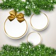 Christmas background with fir branches and balls. — Векторная иллюстрация