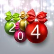 2014 christmas balls on bright background. — Stock Vector