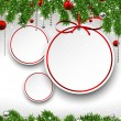 Christmas background with fir branches and balls. — Stockvectorbeeld