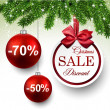 Sale round christmas balls. — Stockvectorbeeld