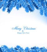 Fir blue christmas frame. — Stock vektor