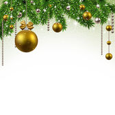 Christmas background with fir branches and balls. — Stock vektor