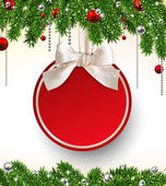 Christmas background with fir branches and ball. — Stock vektor